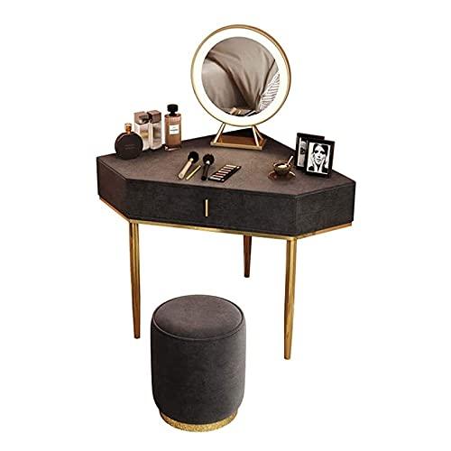CJHOME Conjunto de Mesa de tocador de Esquina, Escritorio de Maquillaje con Espejos y 1 cajones para Mujeres niñas, gabinete de Almacenamiento de tocador Moderno para baño de Dormitorio