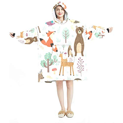 Manta con capucha, informal de microfibra suave, camisón cálido para hombres y mujeres con bonitos diseños de animales