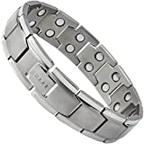 LUXAR® Men's Titanium Magnetic Therapy Linked Bracelet for Pain Relief   Double Magnet Strength with Powerful Rare-Earth Neodymium Magnets   Adjustable Length + Steel Resizing Tool (Brushed Titanium)