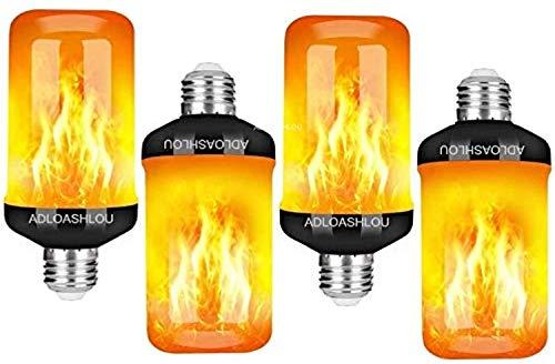 ADLOASHLOU Flamme Glühbirne, E27 Flammen Lampe Flammen Effekt Glühlampen LED mit 4 Beleuchtungs Modi,Dekorative Retro Innenglühlampen im Freien für Halloween,Weihnachten, Garten Hochzeitsfest 4pcs