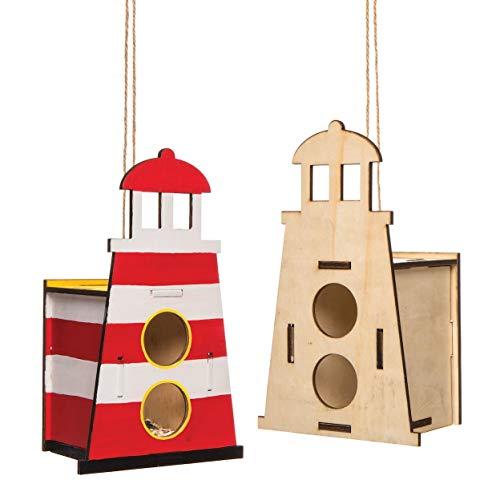 """Baker Ross Vogelhaus-Bastelset """"Leuchtturm"""" aus Holz (2 Stück) – Vogelhäuser für Kinder zum Bemalen und Dekorieren"""