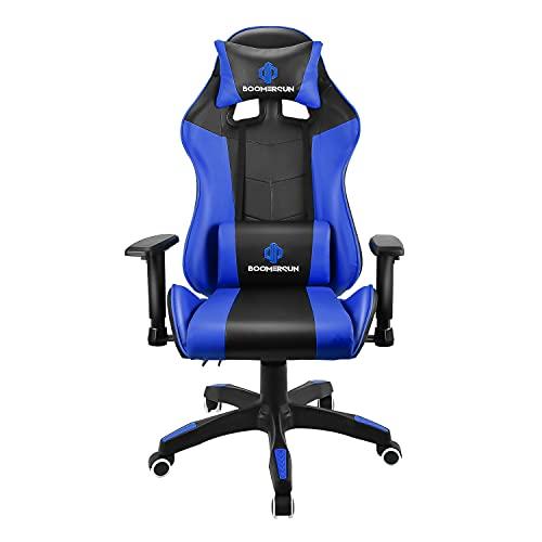 Boomersun Sedia da gaming, ergonomica da ufficio, sedia girevole da corsa, sedia da corsa, sedia da gioco,con funzione basculante, angolo di inclinazione regolabile, braccioli regolabili blu