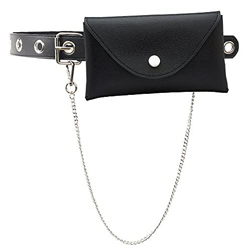 Cinturón de Mujer, Cinturon Cuero Sintética Moda Hueco Remaches Cinturón con Cadena y Monedero Pequeño para Punk Estilo Jeans Pantalones Hip Hop