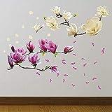 42X107X0.02Cm Pegatinas de pared Rosa y blanco Magnolia Flores Arte mural Calcomanías autoadhesivas extraíbles Vinilo Hogar Diy para sala de estar Dormitorio