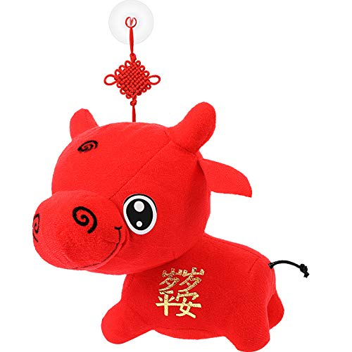 BBTO Chinesisches Neujahr Tier Plüsch Vieh Chinesisch Kuh Plüsch Glücklicher Ochse Ausgestopft Tier Ochse Spielzeug für 2021 Ochse Party Hängende Dekoration, 18 cm/ 7,1 Zoll (Friedensjahr)