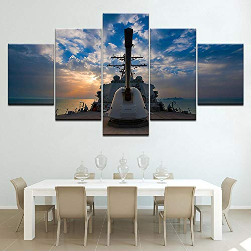 SDBY 5 Canvas Wall Painting Paintings Sunset Poster Seascape for Living Room Prints Sea Battleship Pictures WallPrint on Canvas