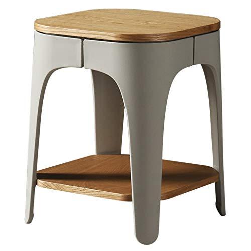 Mesa de Centro Mesa Auxiliar Minimalista moderno, pequeña mesa de centro, sala de estar de madera, dormitorio, balcón, mesa lateral, interior, exterior, con una capa de almacenamiento, mesa de café,
