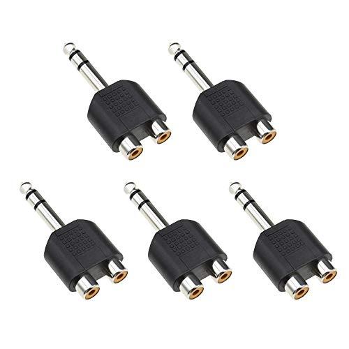 5 unids 6,35 mm 1/4 pulgadas estéreo macho enchufe a RCA dual conector hembra jack convertidores de audio y adaptadores divisor