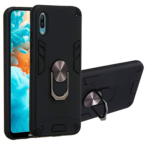 Huawei Y6 Pro 2019 Case, The Grafu 360° Rotation Ring Shockproof Cover with Magnetic Car Mount Holder, 2 in 1 Protective Bumper for Huawei Y6 Pro 2019, Black
