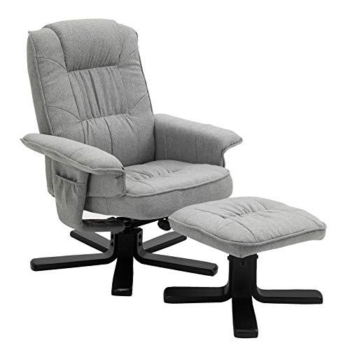 IDIMEX Relaxsessel Charly, schöner Fernsehsessel mit Hocker, bequemer Drehsessel mit verneigungsverstellbarer Rückenlehne, gepolsteter Polstersessel mit Stoffbezug grau/schwarz