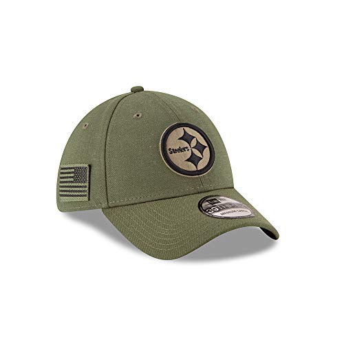 New Era Mens NFL 2018 Salute to Service 39Thirty Flex Fit Hat (Small/Medium, Pittsburgh Steelers)