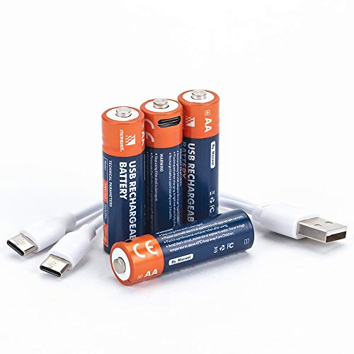 Lithium AA Batteries Rechargeable Resuable-2600mWh 1.5V High Capacity Lithium Ion AA Battery Fast Full Charging in 1.5 Hours Long Lasting with USB Charge Cable for Remote/Toy/Mouse/Keyboard(4 Pack)