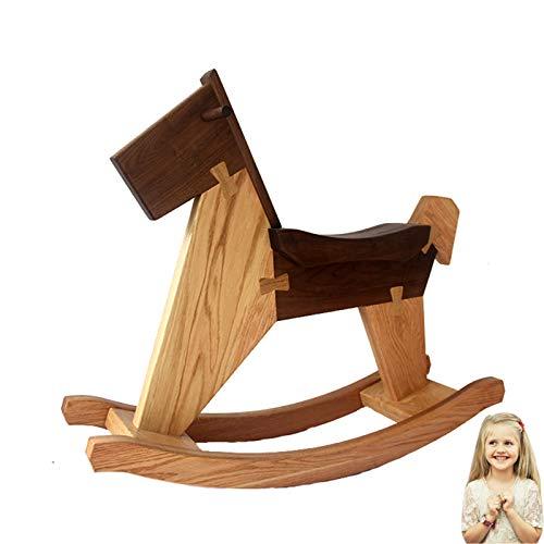 DUTUI High-Grade Solid Wood Rocking Horse, Rocking Horse Toy for Children, Log Rocking Chair Gift, Oak + Black Walnut, 68X85cm