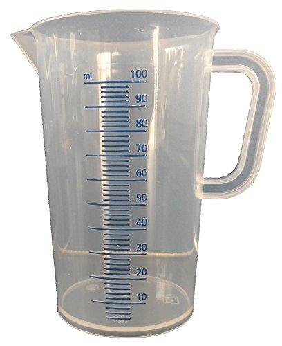 Meßbecher, PP, erhabener blaue Skala, mit Henkel, graduiert (100 ml)