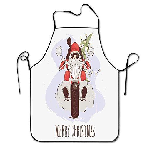 Kitchen Apron,Cooler Weihnachtsmann Mit Sonnenbrille Auf Einem Chopper-Fahrrad Mit Weihnachtsbaum Und Sack-Küchenschürze, Unisex-Gartenschürzen Für Das Kochen Im Restaurant Hotel,52x72cm