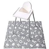 Winthome - Alfombrilla para trona para bebé, diseño de salpicaduras, impermeable, antideslizante Alfabeto Talla:110x110cm
