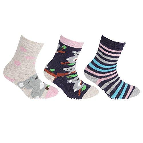 Floso FLOSO® Kinder Rutschfeste Socken (3 Paar) (31-36 EU) (Marine/Beige/Pink)