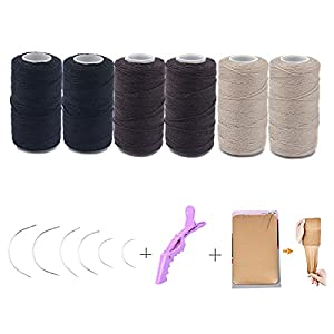 Weft Hair Sewing Thread Needle Tool Using for Wig Making and Weft Hair Extensions Apply Tool (Black 2pcs,Brown 2pcs,Beige 2pcs,Wig Cap 2pcs ,Sewing Needle 6pcs ,Alligator Hair Clip 1pc)