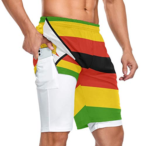 Zimbabwe Flag - Pantalones cortos deportivos para hombre, 2 en 1, con bolsillo