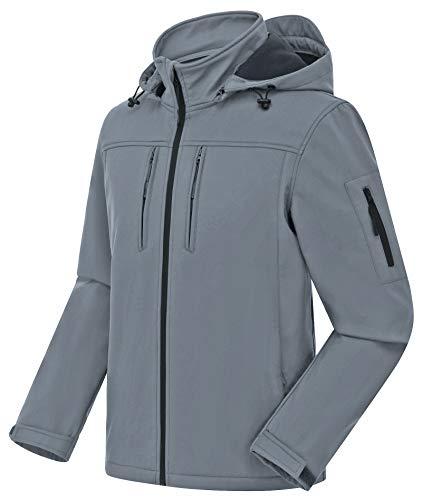 CREATMO US Men's Outdoor Coats Softshell Fleece-Lined Jacket Medium-Weight Water-Repellent Outwear Grey L