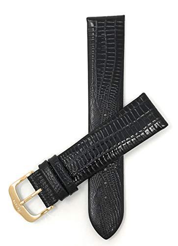Leder Uhrenarmband 16mm für Damen, Schwarz, dünn, halbglänzende Oberfläche, auch verfügbar in braun, Hellbraun und Burgunderrot - Goldene Schnalle