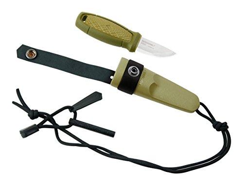 Morakniv Erwachsene ELDRIS Neck Knife, Sandvik-Stahl 12C27, rostfrei, grüner Kunststoffgriff, Köcherscheide, Feuerstarter, Mehrfarbig, One Size