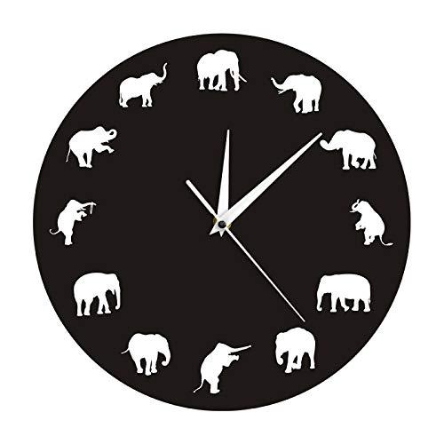 yage Elefante Animal Vida Silvestre Reloj de Pared Casa de Campo Decoración del hogar Reloj de Elefante Diseño Minimalista Reloj de Pared Moderno Reloj Regalo de Elefante