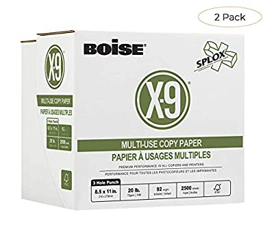 Boise X-9 Multi-Use Copy Paper, SPLOX (Easy Carry Box), 3-Hole Punch, 92 Bright, 8.5 x 11, 20 lb. Reamless (2,500 Sheets) (Tw? ???k)