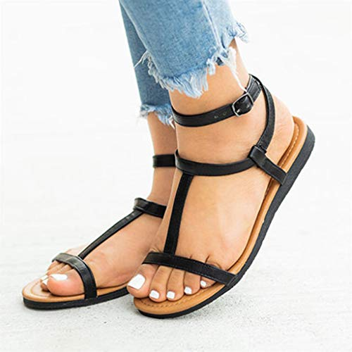 Buy Bargain Eimvano Women Flat Sandals Summer Roman Low Bottom Flip Flop Shoes Beach Slippers Black