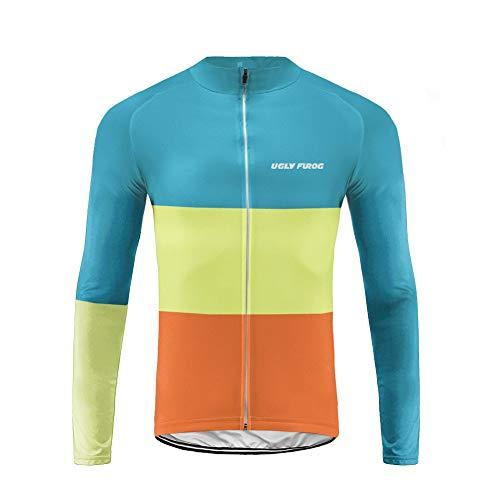 UGLY FROG Uglyfrog Herren Radtrikot Fahrradtrikot Langarm, Fahrradbekleidung Fahrrad Trikot T Shirt für Männer, Atmungsaktive Cycling Jersey Schnell Trocknen Radsport Bekleidung