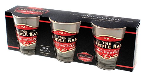 Temple Bar Three Pack Shot Glasses With Traditional Irish Whiskey Design