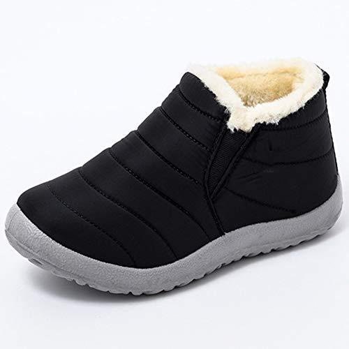 Rong-- Botas De Nieve para Mujer Casual Botas Impermeable Zapatos con Forro Cálido Y Suela De PU Invierno, Negro,44