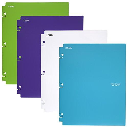 Five Star 2-Pocket Folders, Snap-In Binder Folder, Assorted Trend Colors, 4 Pack (73264)