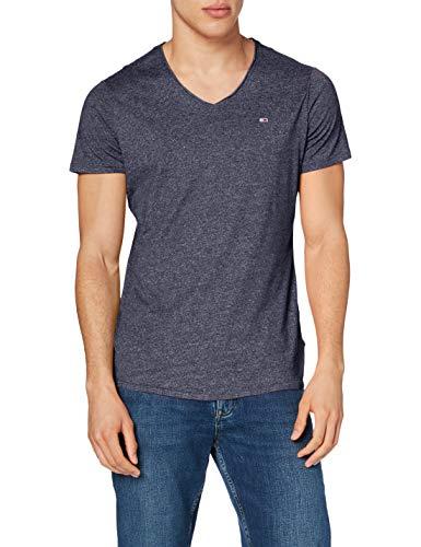 Tommy Jeans TJM Slim Jaspe V Neck T-Shirt, Bleu Marine, XXS Homme