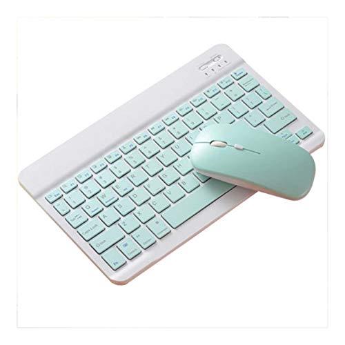 Pronuncio Bluetooth del teclado del ratón Conjunto for Ipad peregrino tableta del teléfono universal Pink Radio ultrafina Ratones Teclado Conjunto de color azul Teclado y ratón ( Color : Blue Set )