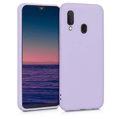 kwmobile Coque Compatible avec Samsung Galaxy A20e - Housse Protectrice pour Téléphone en Silicone Lavande