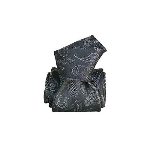 Segni et Disegni. Cravate artisanale. Alexandrie, Soie. Gris, Paisley. Fabriqué en Italie.