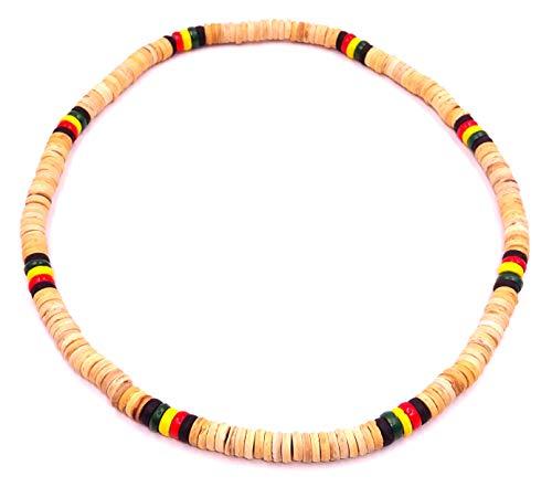 Collar de surf de coco étnico, cuerno de madera, perlas marrón y madera de coco para cuello tribal, colgante para hombre, mujer o niño, rata, reggae, Bob Marley Jamaica heishi.