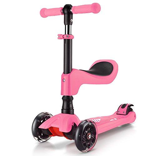 Rishx Intermitente Rueda Multifuncional 3 en 1 Kids Kick Scooter Desmontaje con un Solo Toque Cojín Extraíble Four Wheel Scooter Andador de dirección inclinable/Inclinado (Color : Pink)
