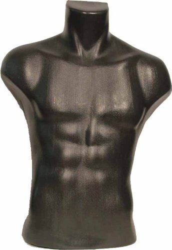 Male Torso Dress Form Mannequin Display Bust Black (#5027) Made by OM