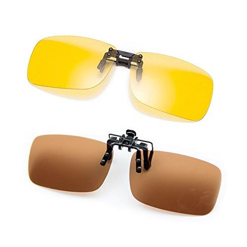 Cyxus [2 Pack] Gepolariseerde lenzen Klassieke Clip-On zonnebril, [Anti-glare] [UV-bescherming] Rijdend/Vissen/Sport/Nachtzicht Oogkleding, Mannen & Vrouwen
