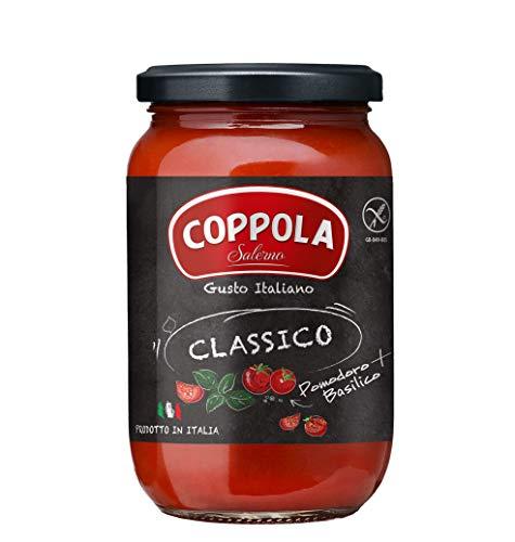 Coppola Sugo Classico, Salsa de tomate con albahaca - Sin azúcar añadida 350g (Caja de 6)