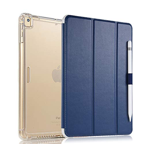 Valkit iPad Pro 12.9 Case 2017/2015 (Old Model,1st & 2nd Gen) - iPad Pro 12.9 Inch Cover Smart Folio Stand Protective Heavy Duty Rugged Armor Cases with Auto Wake/Sleep & Pencil Holder, Navy Blue