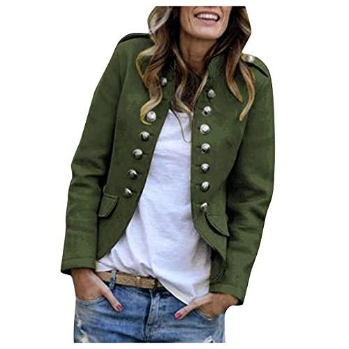 Zldhxyf Elegante chaqueta de traje para mujer con tira de botones, estilo militar, para el tiempo libre, para negocios, oficina, traje., verde militar, XXL