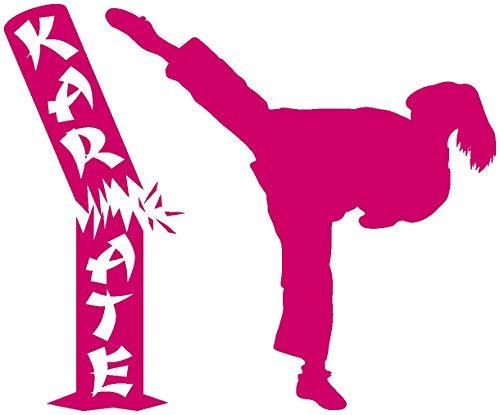 Samunshi® Aufkleber Karate Karatekämpferin mit Stamm in 10 Größen und 25 Farben (15x12,3cm pink)