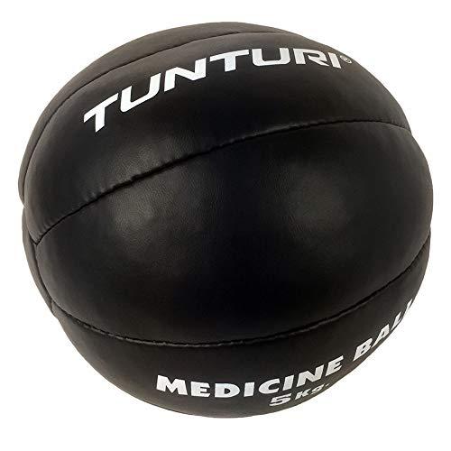 Tunturi Functional Balón Medicinal Cuero, Unisex Adulto, Negro, 5 kg
