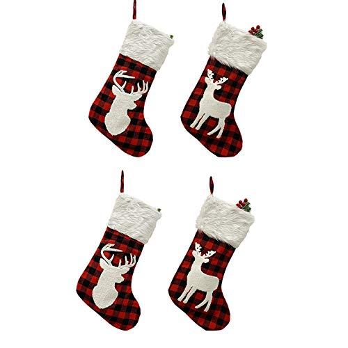 DAMEING 20inch Large Christmas Stocking, Embroidered Burlap Stockings Reindeer Plush Xmas Stockings Fireplace Hanging Stockings for Xmas Holiday Party Decorations (4Pcs)