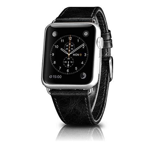 iPure Lusso Cinghie di Apple Watch 42mm, Cinturino in Vera Pelle Band in Acciaio Inox Compatibile per iWatch Series 3/2/1Sport