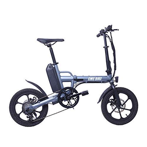 YPYJ Elektrisches Faltrad City Electric Bikes Für Erwachsene 6-Gang-Ebike - Einfach in Den Bürolift Zu Bringen,Grau