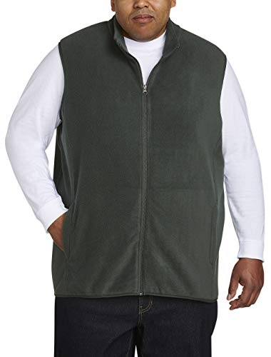 Amazon Essentials Men's Big and Tall Full-Zip Polar Fleece Vest fit by DXL, Forest Green, 5XLT
